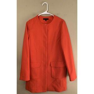 Uniqlo Collarless Long Coat Orange Red Size S